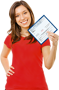 girl in red shirt holding a vehicle title