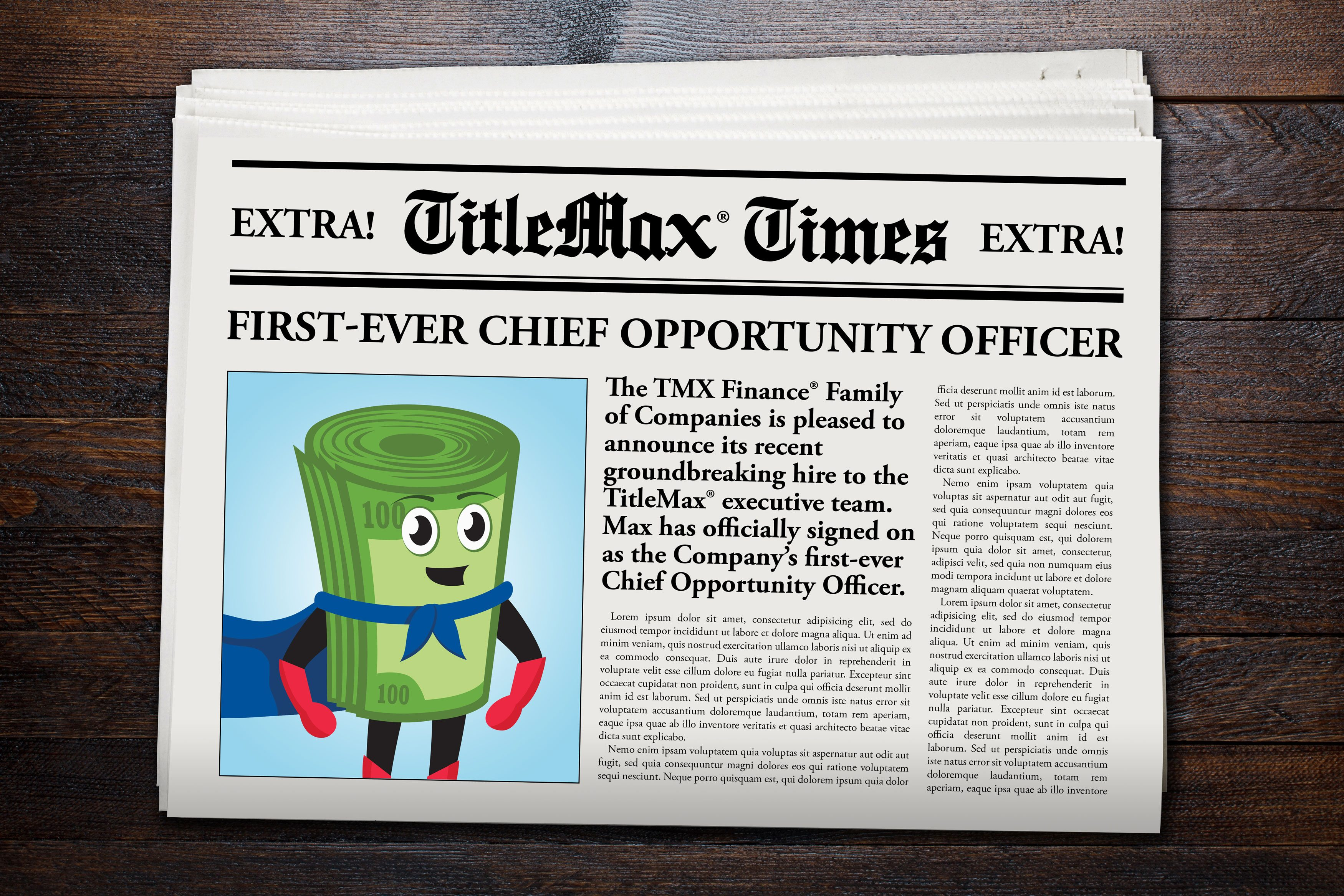 Extra Extra! Read All About It! TitleMax Hires First Chief Opportunity Officer