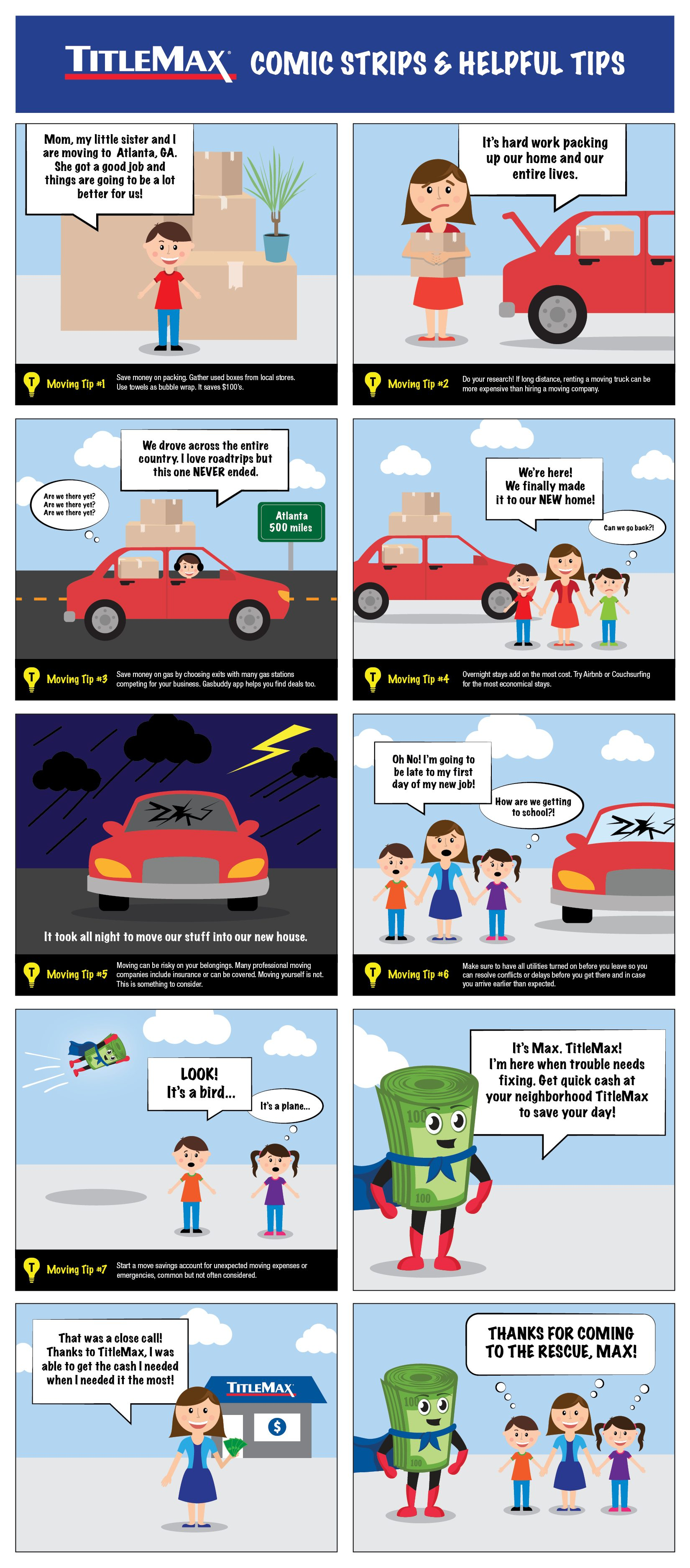 TitleMax Comic Strips & Helpful Tips - Max to the rescue!
