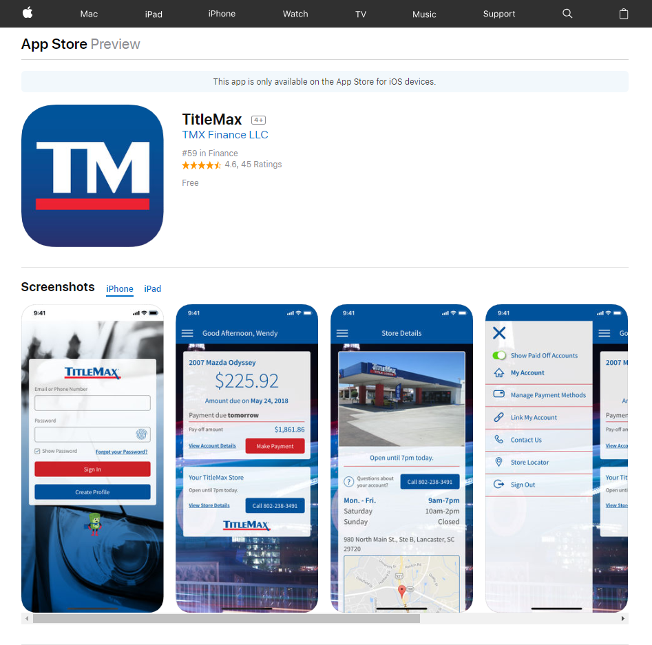 TitleMax Mobile App Screen Grabs