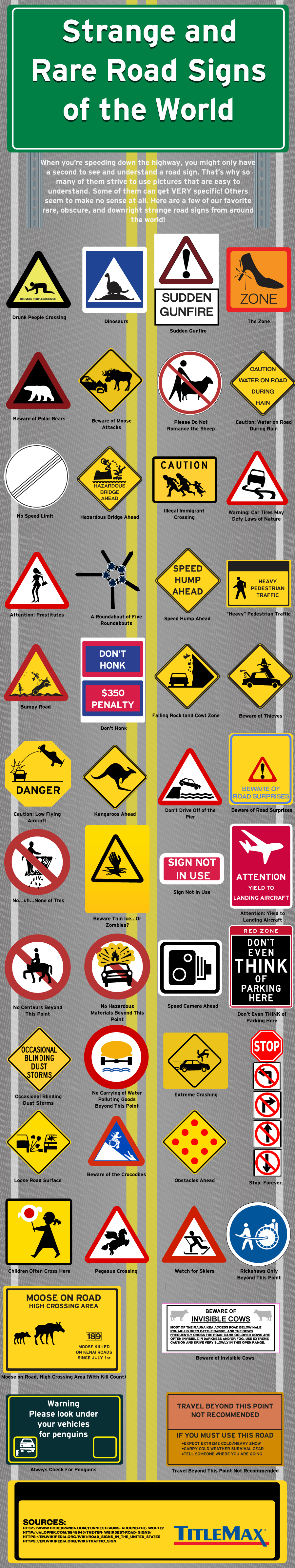 Strange And Rare Road Signs Of The World Infographic Titlemax