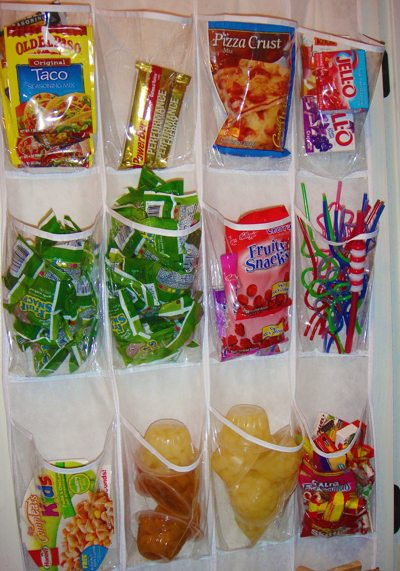 door hung shoe storage rack used to store packaged food