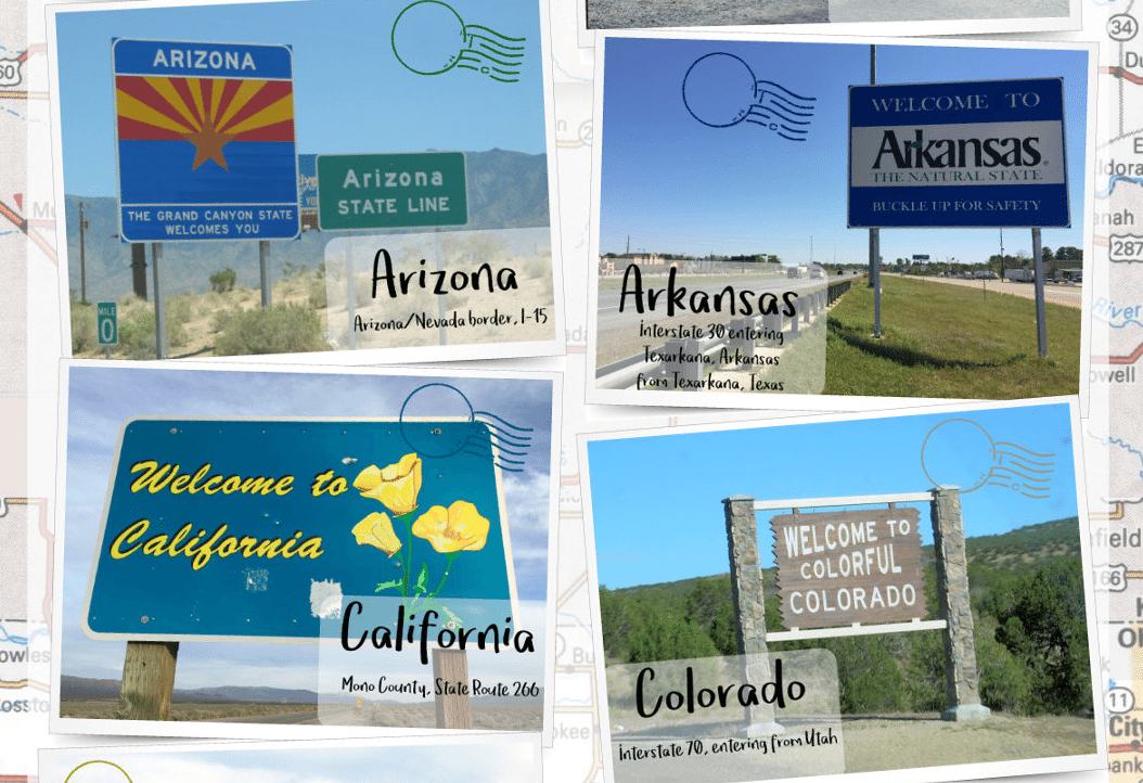 Welcome Signs of 50 States in America